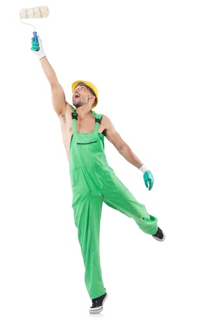 coveralls: Painter in green coveralls on white