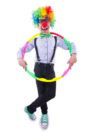 Funny clown with hoop on white photo