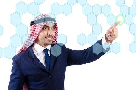 Arab man pressing virtual buttons Stock Photo - 22072145