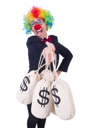profit celebration: Businessman clown isolated on white