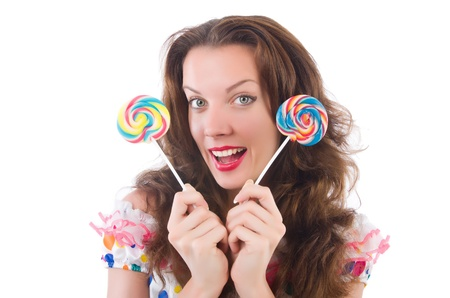 Woman with lollipops isolated on white photo
