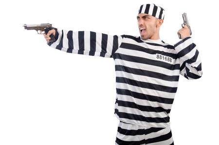 Prisoner with gun isolated on white Stock Photo - 22128147