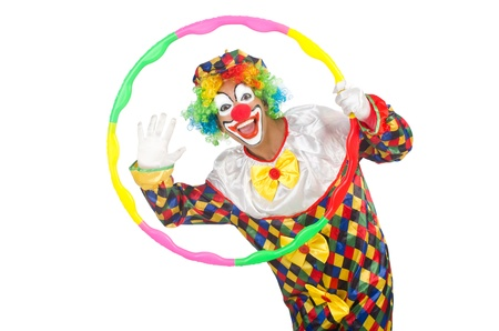 Clown with hula hoop isolated on white photo