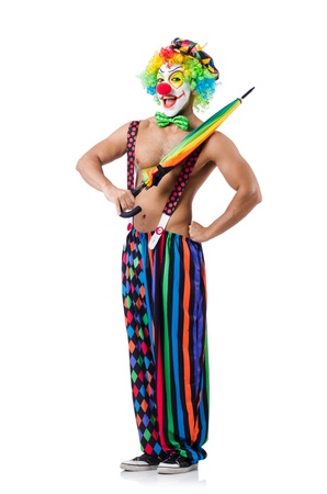 Clown with umbrella isolated on white photo