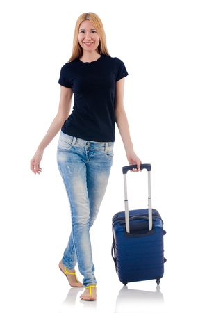 Woman preparing for vacation on white Stock Photo - 22128405