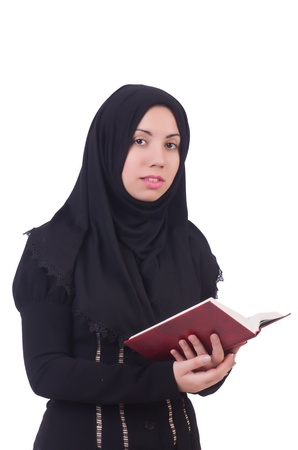 burqa: Young muslim female student with books