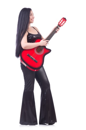 Woman with guitar isolated on the white photo