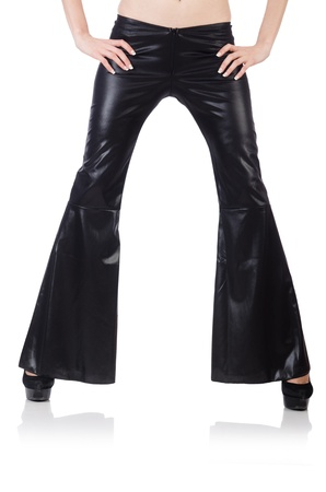 Black leather bell-bottomed trousers  photo