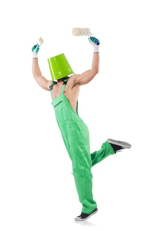Painter in green coveralls on white Stock Photo - 22099411