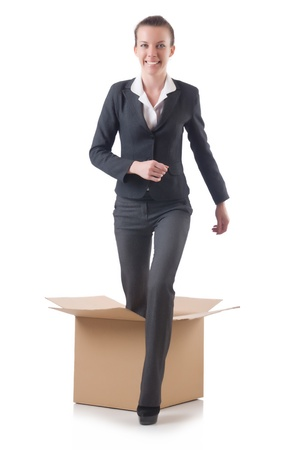 Woman with boxes on white photo