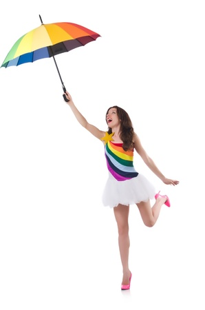Woman with umbrella isolated on white photo