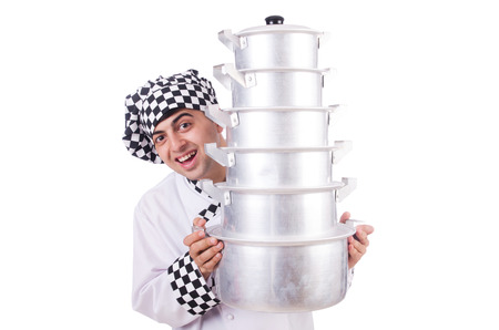 Cook with stack of pots on white Stock Photo - 22276354