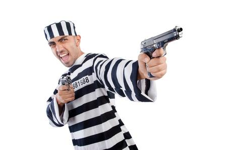 Prisoner with gun isolated on white Stock Photo