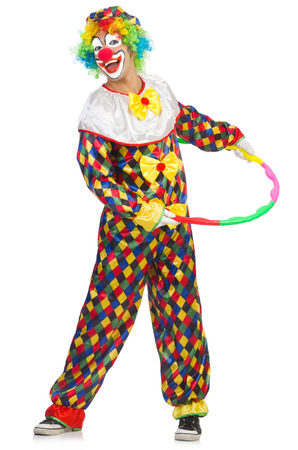 Clown with hula isolated on white photo