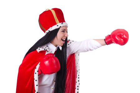 Woman queen with boxing gloves photo