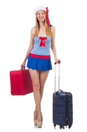 Woman travel attendant with suitcase on white Stock Photo - 22276671