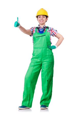 Young woman in green coveralls Stock Photo - 22277889