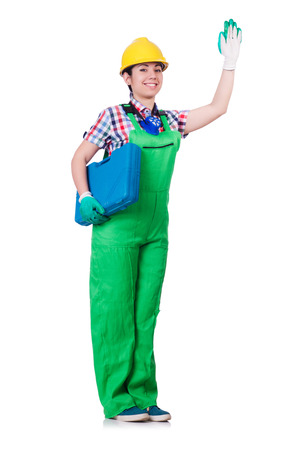 Young woman in green coveralls Stock Photo - 22277890