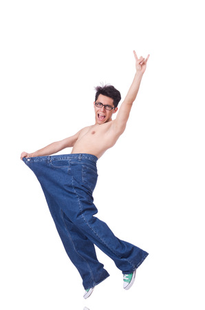Funny man with trousers isolated on white Stock Photo - 22277905