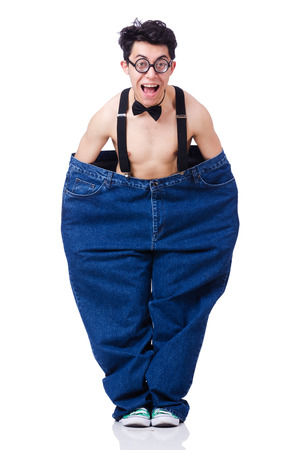 Funny man with trousers isolated on white Stock Photo - 22277906
