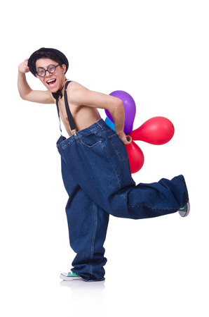 Funny man with balloons on white Stock Photo - 22277912