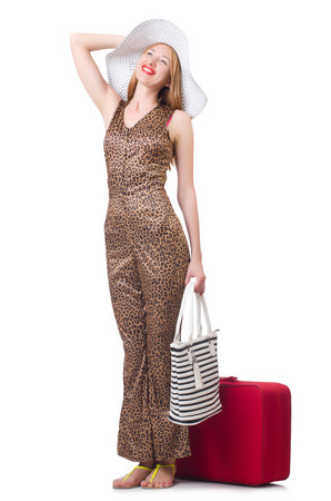 Young woman with suitcase on white Stock Photo - 22277942