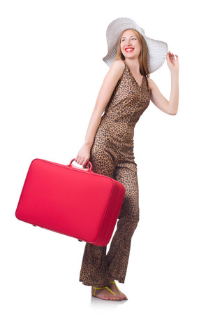 Young woman with suitcase on white Stock Photo - 22277943