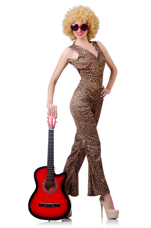 Young singer with afro cut and guitar Stock Photo - 22276698