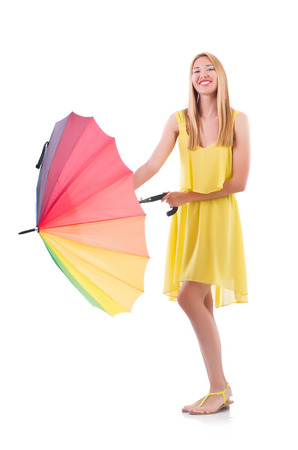 Woman with umbrella isolated on white Stock Photo - 22277976