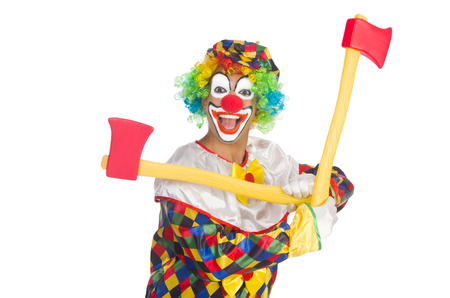 Clown with axe isolated on white Stock Photo - 22277982