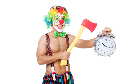 Clown with clock and axe on white photo
