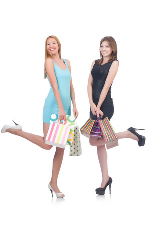 Girls after good shopping on white Stock Photo - 22311459