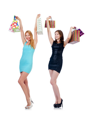 Girls after good shopping on white Stock Photo - 22311460