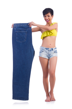 Woman in dieting concept with big jeans Stock Photo - 22277989