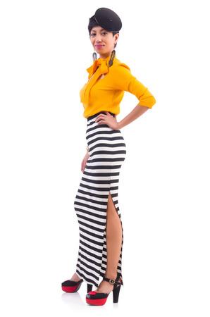 Model wearing fashionable clothing on white Stock Photo - 22277994