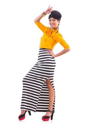 Model wearing fashionable clothing on white Stock Photo - 22277996