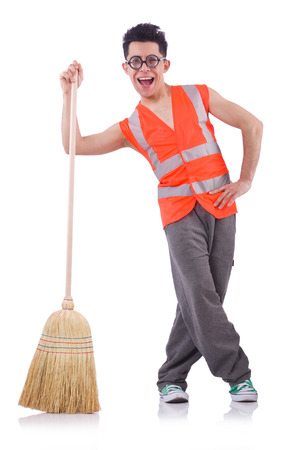 Funny janitor isolated on white Stock Photo - 22273329