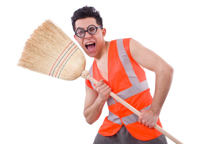 Funny janitor isolated on white Stock Photo - 22273330