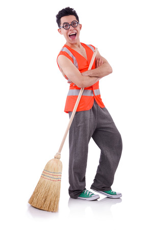 Funny janitor isolated on white Stock Photo - 22273332