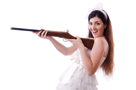 Bride with rifle isolated on white Stock Photo - 22278072