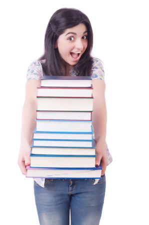 Young female student with books on white Stock Photo - 22278074