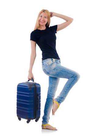 Woman preparing for vacation on white Stock Photo - 22278098