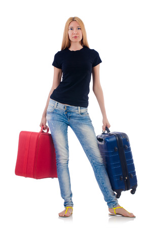 Woman preparing for vacation on white Stock Photo - 22311467