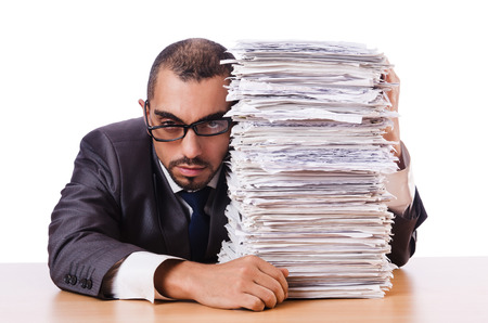 Man with too much work to do Stock Photo - 22273885