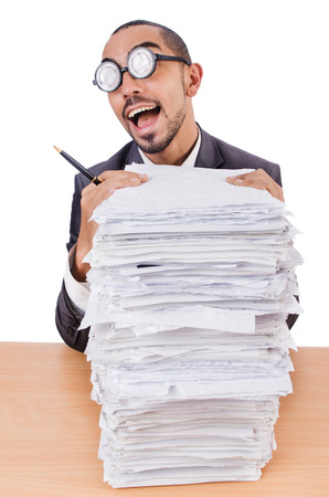 Man with too much work to do photo