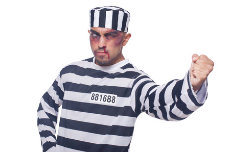 Prisoner with bad bruises on white Stock Photo - 22273909