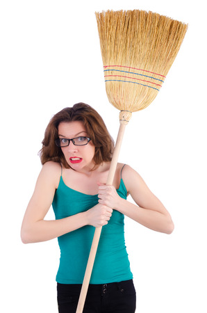 Young woman with broom on white Stock Photo - 22274045