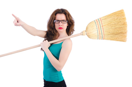 Young woman with broom on white Stock Photo - 22274048