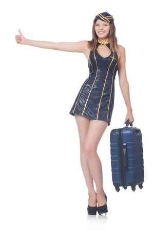 Woman travel attendant with suitcase on white Stock Photo - 22328194