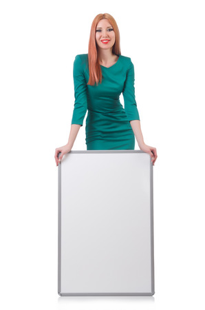 Woman in green dress with blank board Stock Photo - 22278112